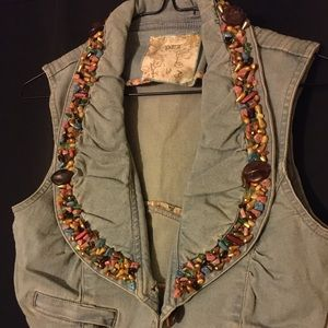 Custom Beaded Dex Denim Vest